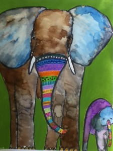 My painting -- mama Elephant and her baby