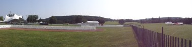 A panorama including the stage and the field, both of which will be full on Sunday