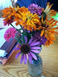 An October bouquet -- Zinnias and a coneflower