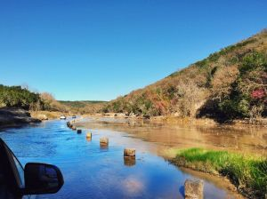 Driving in the Frio River. (photograph by Kristen Kopp)
